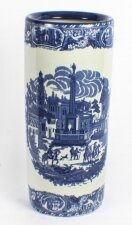 Vintage Blue & White Porcelain Umbrella Stick Stand 20th C