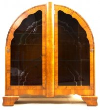 Antique Art Deco Walnut Display Cabinet Bookcase
