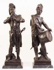 Pair Bronze Napoleonic Soldiers Drummer & Rifleman 20th C