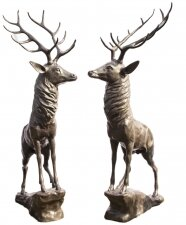 Magnificent Pair Life Size Bronze Stags Deer Statues