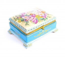 Sevres Style Gilded Celeste Light Blue Porcelain Jewellery Casket late 20th C
