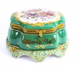 Hand Painted Porcelain & Gilded Jade Green Sevres Style Jewellery Casket 20th C