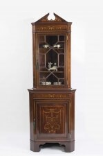 Antique English Edwardian Marquetry Corner Cabinet