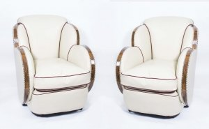 Antique Pair White Leather Art Deco Cloud Armchairs