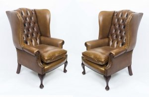Bespoke Pair Leather Chippendale Wing Back Armchairs Saddle