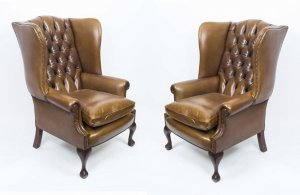 Bespoke Pair Leather Chippendale Wing Back Armchairs Yellow Tan