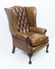 Bespoke Leather Chippendale Wing back Chair Armchair yellow tan