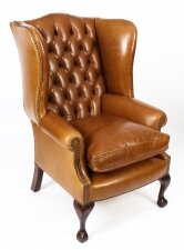 Bespoke Leather Chippendale Wing back Chair Armchair Bruciato
