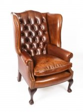 Bespoke Leather Chippendale Wing back Chair Armchair burnt amber