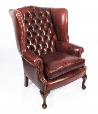 Bespoke Leather Chippendale Wingback Chair Armchair Murano Port