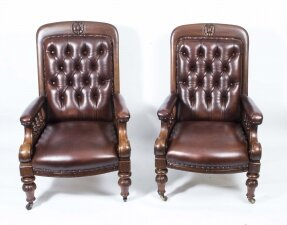 Antique Pair English Victorian Leather Armchairs