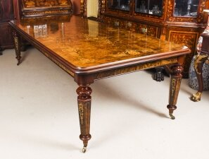 Stunning Handmade 10ft Burr Walnut & Marquetry Bespoke Dining Table
