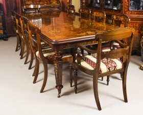 Bespoke Handmade Burr Walnut & Marquetry Dining Table & 12 Chairs