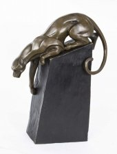 Stunning Bronze Sculpture Panther Cat Ready to Pounce