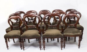 Set 14 Victorian Style Balloon back Dining Chairs with Carved Shield