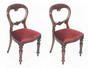 Pair Victorian Style Balloon back Dining Chairs with Carved Shield