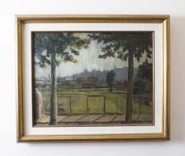 Vintage Spanish Landscape Signed Roca Mid 20th Century