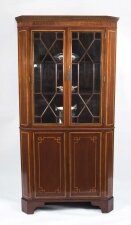 Antique Edwardian Inlaid 2 Door Corner Cabinet