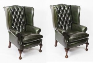 Bespoke Pair Leather Chippendale Wingback Armchairs Alga Green