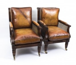 Pair of Regency Style Mahogany Bergere Armchairs