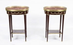 Pair of Louis XV Rouge Marble Topped Occasional Tables