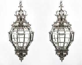 Pair Versailles Huge Silver Bronze Diamond Baluster Lanterns