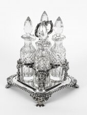 Antique English Regency Sterling Silver Four Bottle Cruet Paul Storr 1820 19th C