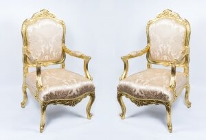 Vintage Pair Louis XV Style French Gilded Armchairs 20th C