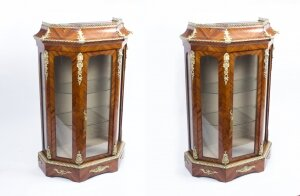 Antique Pair Victorian Tulipwood Vitrines Cabinets