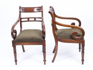 Grand Pair Regency Style Tulip Back Arm Chairs desk Chairs