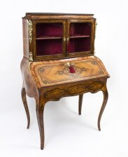 Antique French Bonheur du Jour in Kingwood with Marquetry