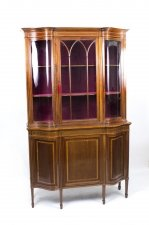 Antique Edwardian Serpentine Inlaid Display Cabinet C1900