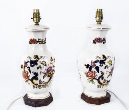 Vintage Pair of Masons Ironstone Table Lamps Late 20th Century