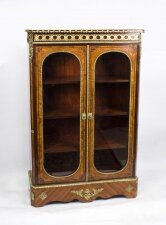 Antique Victorian Burr Walnut Low Display Cabinet C1860