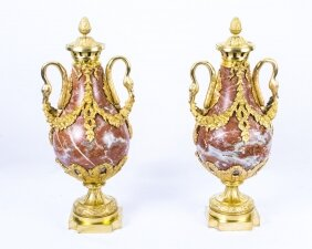 Antique Pair Louis XV French Rouge Marble Urns