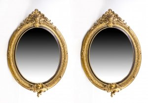 Pair Beautiful Large Rococo Style Gilded Oval Mirrors 150 x 103 cm