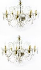 Superb Pair of Vintage Venetian 8 Light Crystal Chandeliers