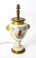 Antique French Hand Painted & Gilt Porcelain Lamp