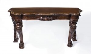 Antique Victorian Serpentine Carved Serving console table C1870 19th Century
