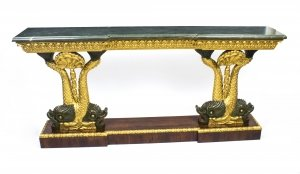Antique Entwined Gilded Dolphins Console Pier Table