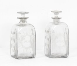 Antique Pair of Etched Glass Decanters Thistles