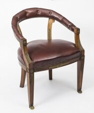 Antique Second Empire Mahogany Tub Arm Desk Chair