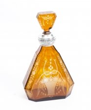 Antique Bohemian Amber Silver Mounted Decanter