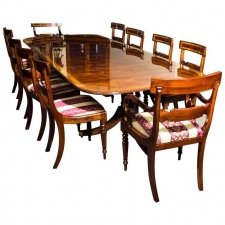 Bespoke Flame Mahogany 10ft Regency Style Dining Table & set of 10 Chairs