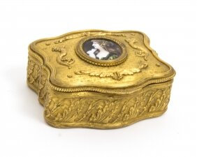 Antique Gilt Bronze Jewellery Casket & Limoges Miniature