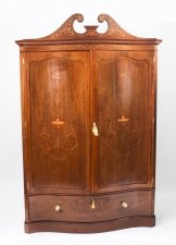 Antique Edwardian Inlaid Wardrobe Attributed to Edwards & Roberts 19th C