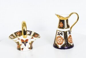 Pair Hand Painted Gilded Crown Derby Style Small Ornaments 20th C