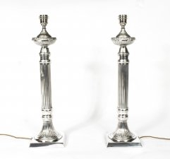 Pair Silver Plated Fluted Column Table Lamps