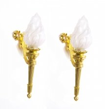 Antique Pair Ormolu & Glass Flaming Torches Wall lights