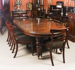 Antique Victorian Oval Dining Table Circa 1860 & 8 Bar Back Dining Chairs